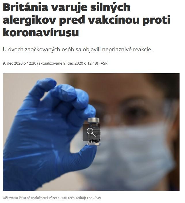 Británia varuje silných alergikov pred vakcínou proti koronavírusu